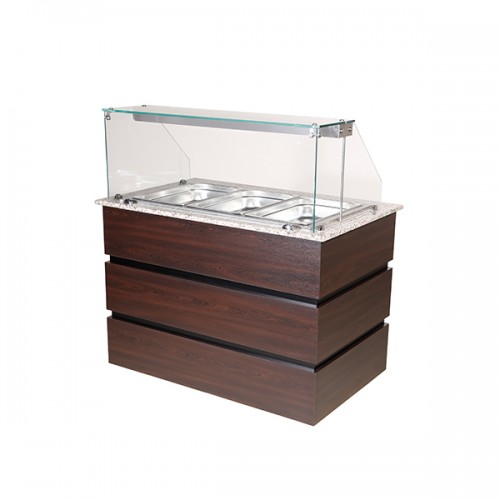 Flat Glass Heated Display Counter 3x GN1/1