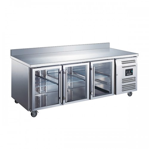 3 GLASS DOOR GN1/1 COUNTER WITH UPSTAND 417L