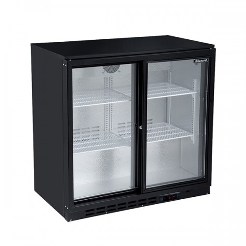Double Sliding Door Low Height Bar Bottle Cooler