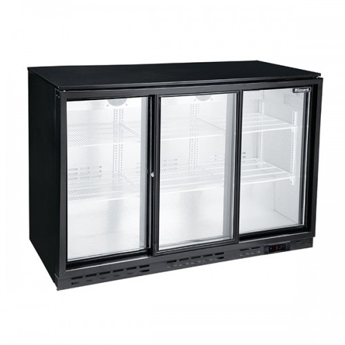 Triple Sliding Door Low Height Bar Bottle Cooler