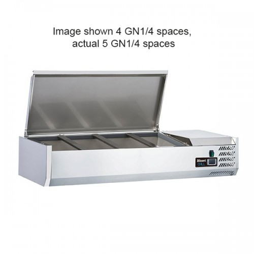 1/4 GASTRONORM PREP TOP WITH HINGED LID 1200MM(W)