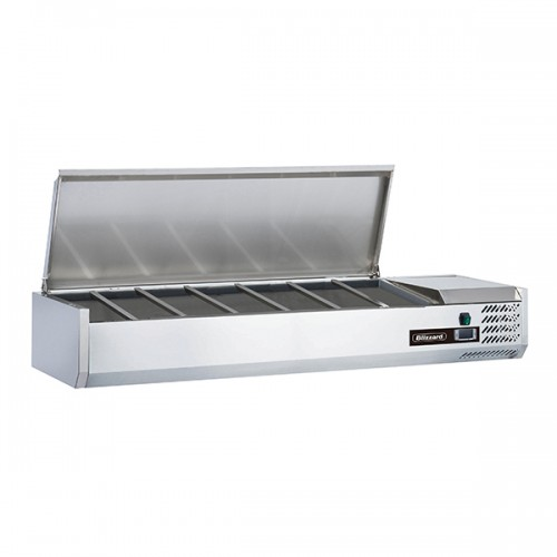 1/4 GASTRONORM PREP TOP WITH HINGED LID 1500MM(W)
