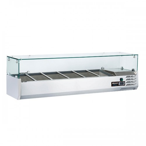 1/3 Gastronorm Prep Top with Glass Cover 1500mm(W)
